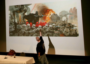 "Dave Dorman Lecturing on His Epic Piece ""Lord Vader's Persuasion of the Outer Rim"" at the Milwaukee Discovery Museum, October 2013."
