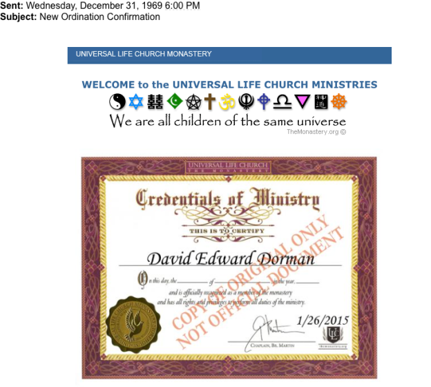 Pastor Reverend Dave Dorman - Official Credentials