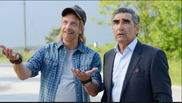 Mayor Schitt (Chris Elliott) and Johnny Rose the video king (Eugene Levy)