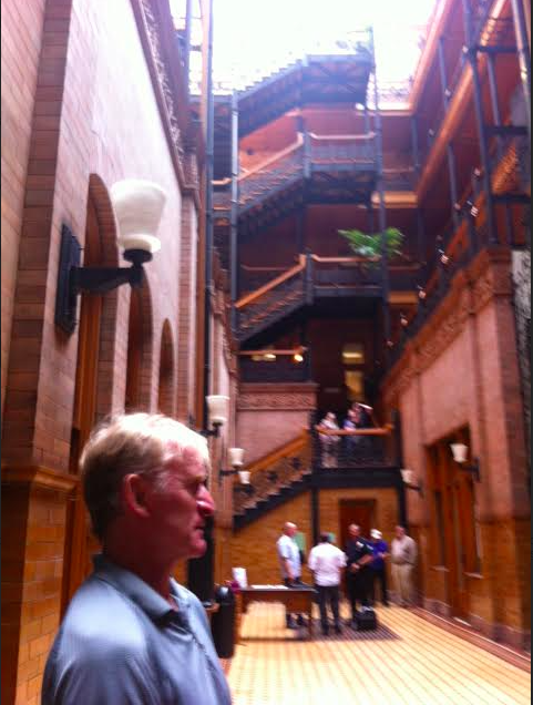 Dean Haglund guiding us in The Bradbury Building in downtown L.A., site of many films, including BLADERUNNER