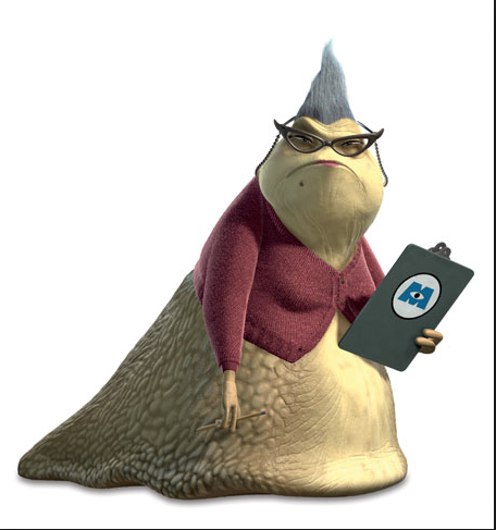 Okay, she bore a STRIKING RESEMBLANCE to Roz from Monsters, Inc.