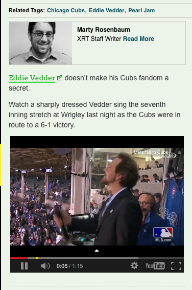 Eddie Vedder Singing the 7th Inning Stretch Inside of the Friendly Confines