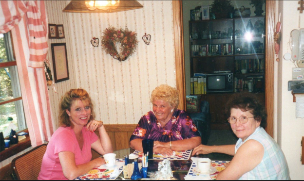 Me with my mischievous Aunt Shirley, who had just downloaded more jokes, and my Mom.