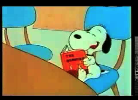 SNOOPY laughing himself right out of the library.