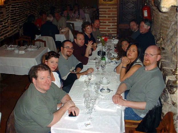 Comics legends, bestselling authors and me at Botin Restaurant in Madrid. L-R: Dave Dorman, me, (can't recall his name), Mike Kennedy, Rebecca Moesta, Kevin J.  Anderson, Chris Warner, Randy Stradley, Randy's former wife, Joyce Chin and Art Adams